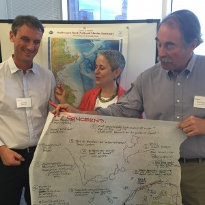 Group leaders summarize the major discussion points. From left to right: Karel Hejnert (Deltares US), Julie Wormser (Boston Harbor Now), and Charles Norris (Norris & Norris Consulting).